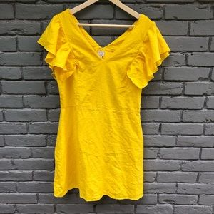 ANEWDAY Yellow Linen V-Neck Ruffle Sleeve Dress 12